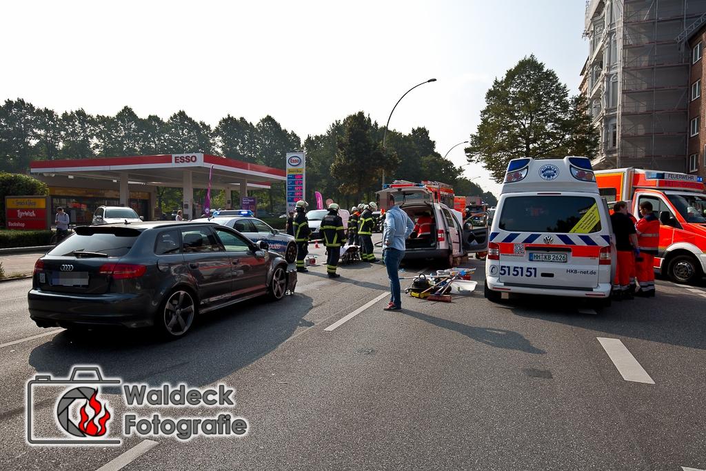 Hamburg-Mundsburg 23.09.2016 ca. 12 Uhr Schwerer Verkehrsunfal auf Mundsurger Damm